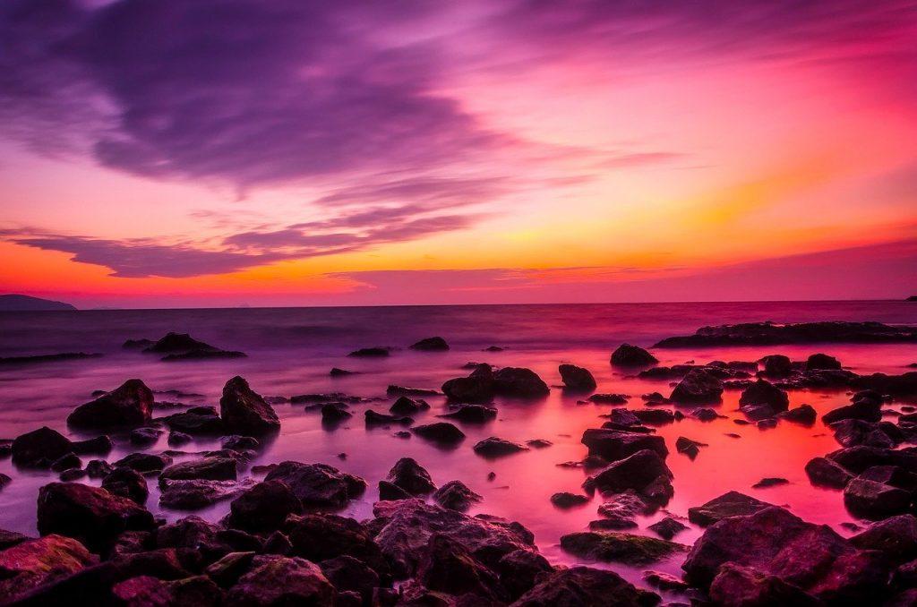 sunset, ocean, dusk